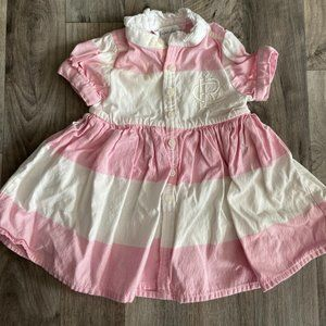 Pink and White Striped Ralph Lauren Dress 3mo